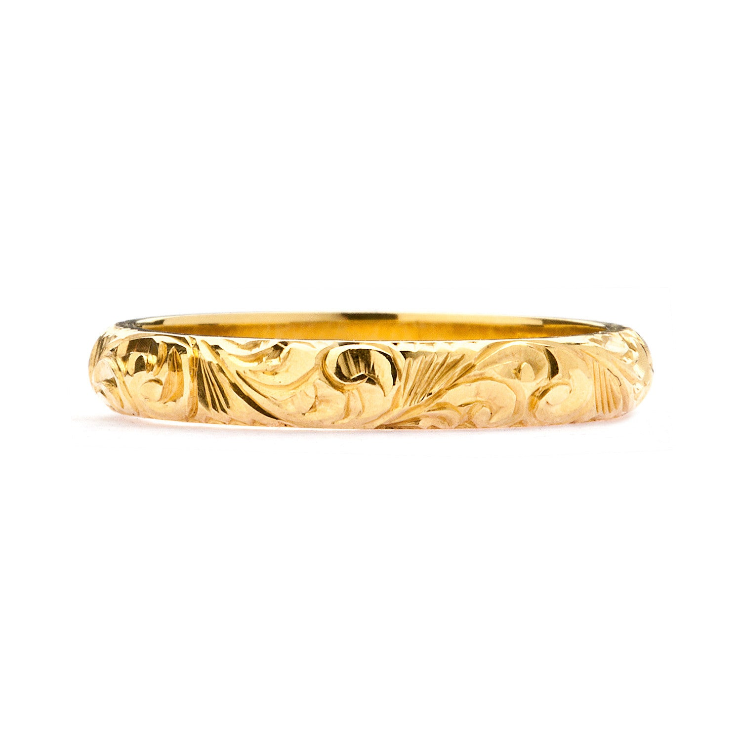 Scrolls Engraved Ethical Gold Wedding Ring, 3mm
