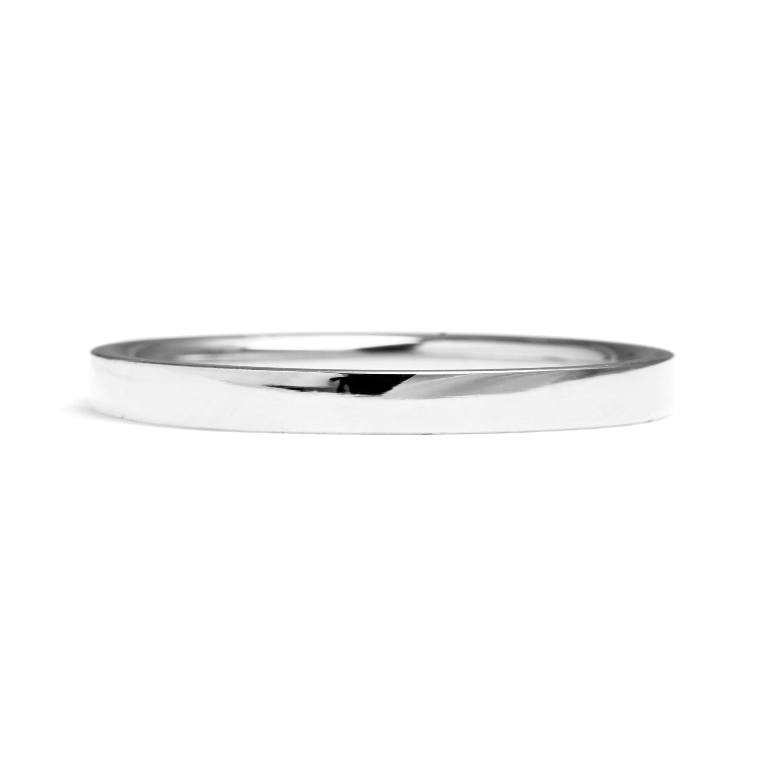 Flat Court Ethical Platinum Wedding Band, Thin