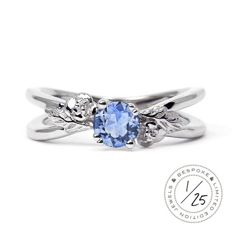 Foliage Ethical Light Blue Sapphire Gemstone Engagement Ring, 18ct Fairtrade Gold