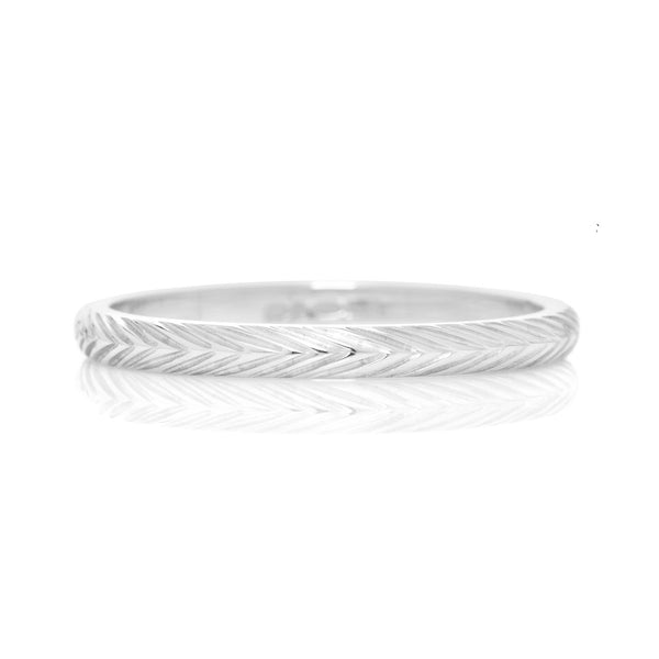 D Shape Wheat Sheaf Engraved Ethical Platinum Wedding Ring 2mm - Arabel Lebrusan