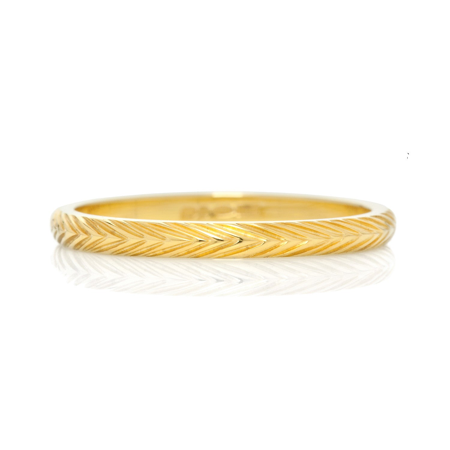 Wheat Sheaf Engraved Ethical Gold Wedding Ring, 2mm