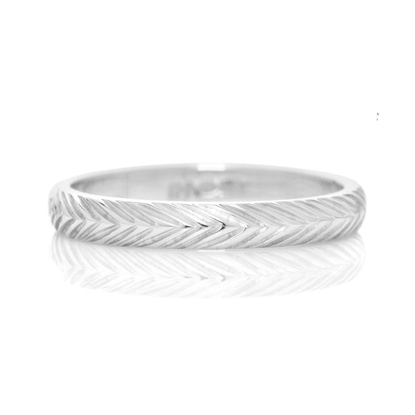 D Shape Wheat Sheaf Engraved Ethical Platinum Wedding Ring 3mm - Arabel Lebrusan