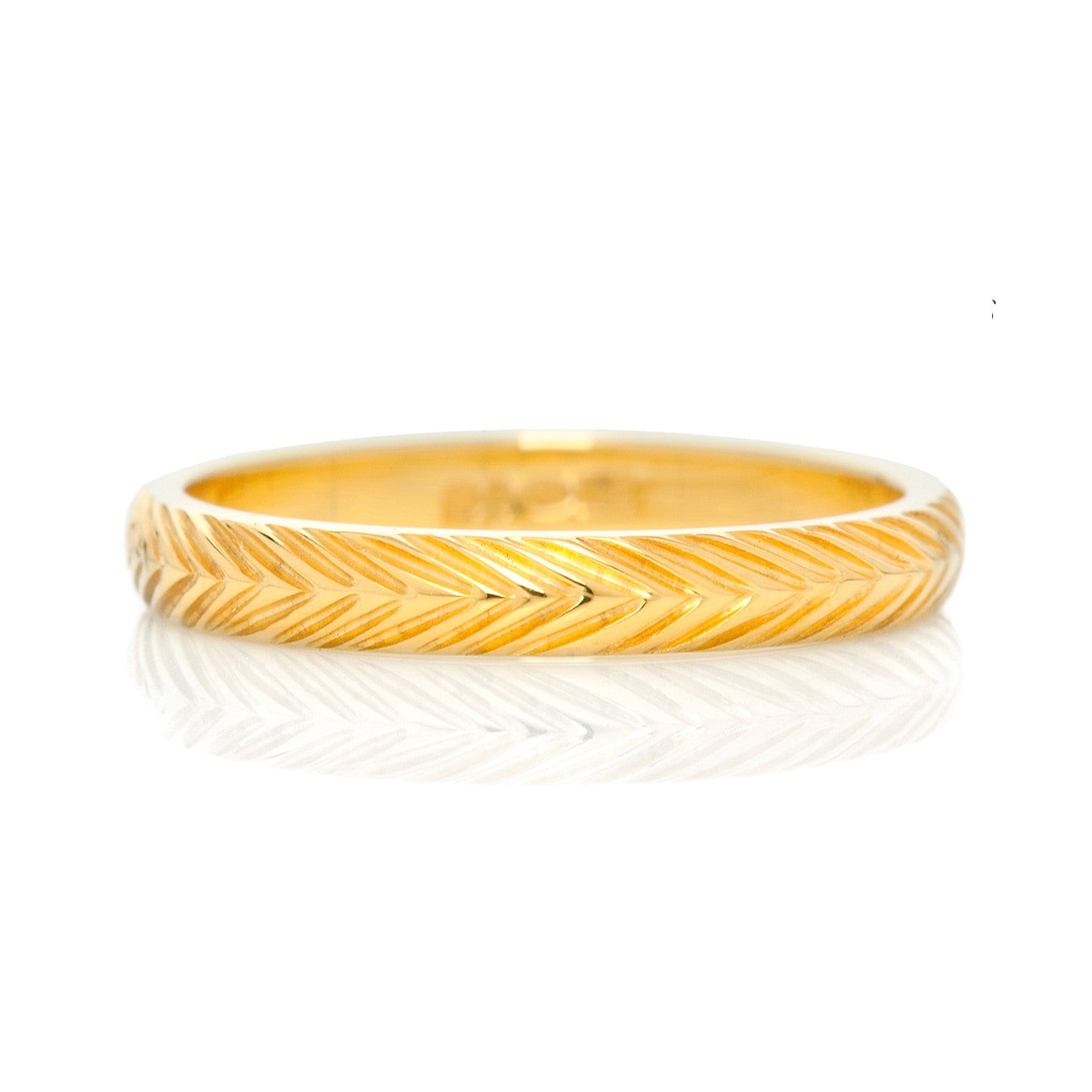 Wheat Sheaf Engraved Ethical Gold Wedding Ring 3mm