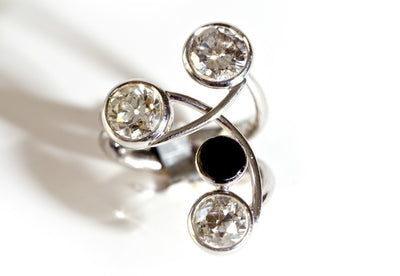 Bespoke cocktail ring - recycled rose-cut diamonds, 18ct recycled white gold and black onyx