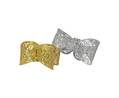 Filigree Bow Ring in Yellow Gold