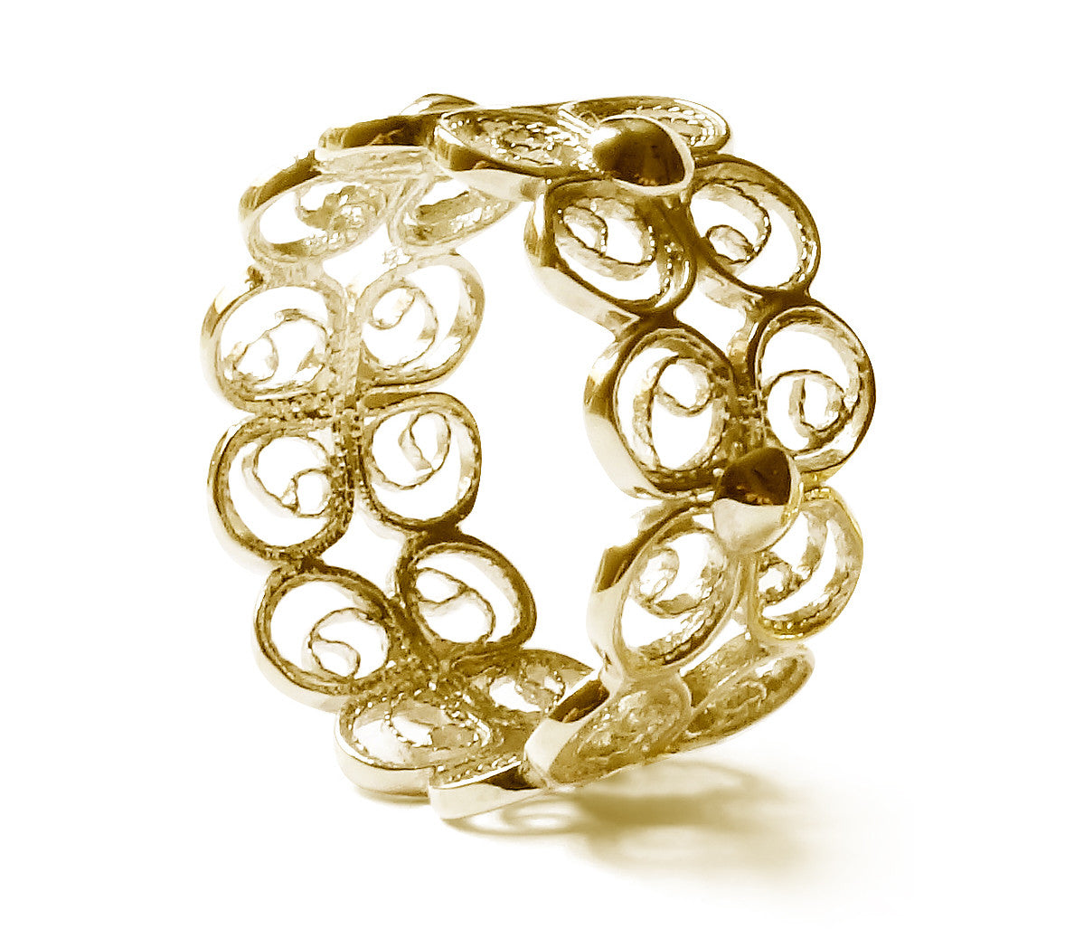 Filigree Enchanting Clover Ring in Yellow Gold - Arabel Lebrusan