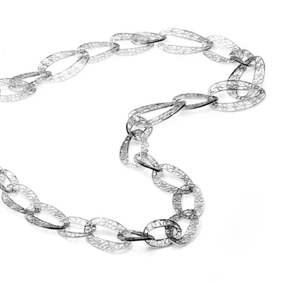 Filigree Links Long Necklace. White