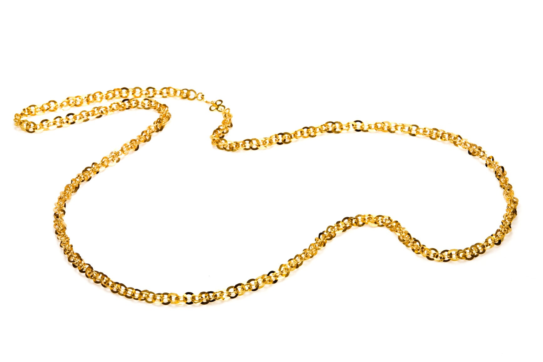 Sequin Chain Necklace in Yellow Gold