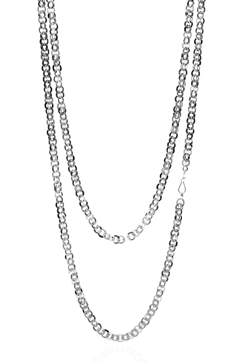 Sequin Chain Necklace in Silver