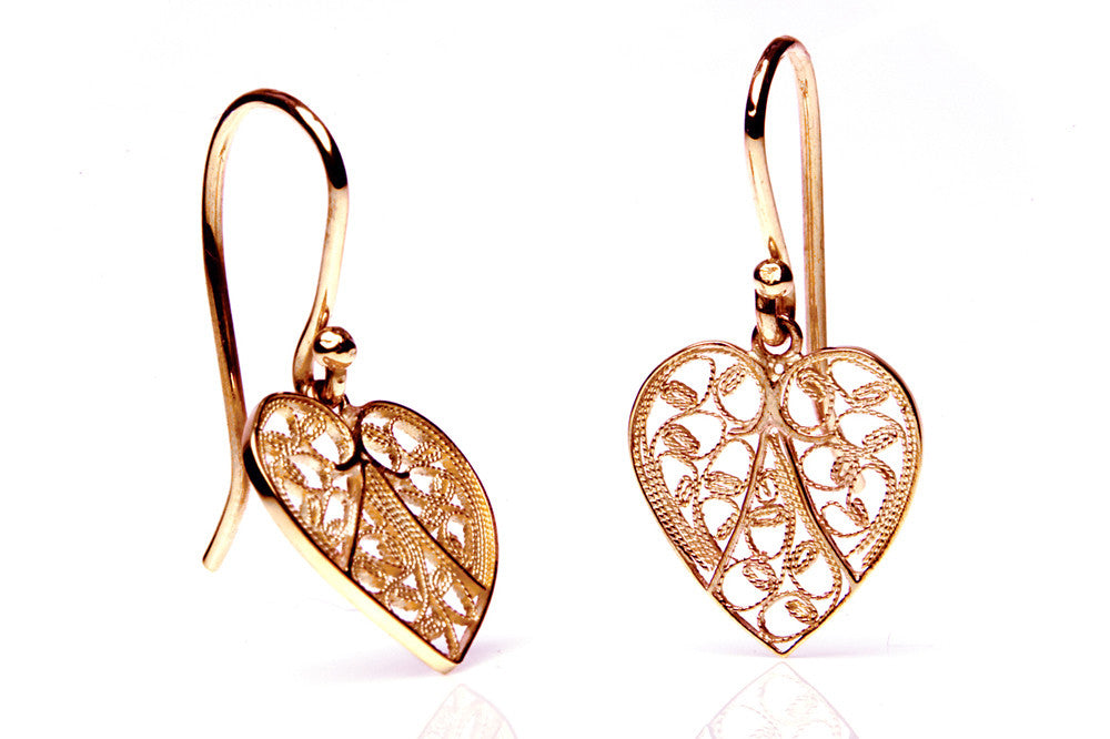 Heart Filigree Earrings. Rose Gold