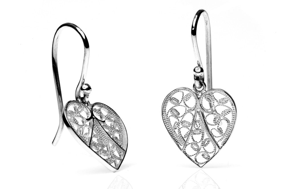 Heart Filigree Earrings. Silver