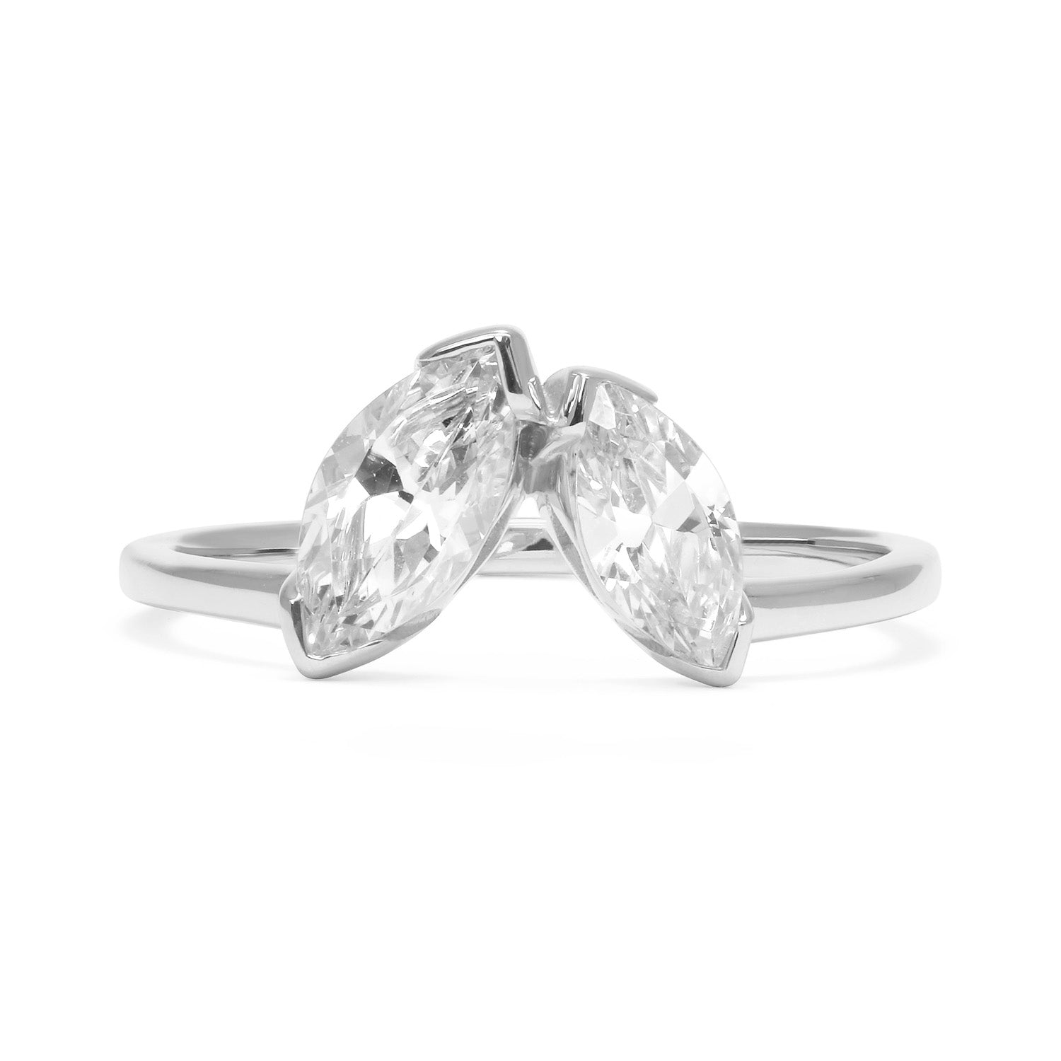 Marquise Diamond Diadem Ethical Ring, Recycled Platinum