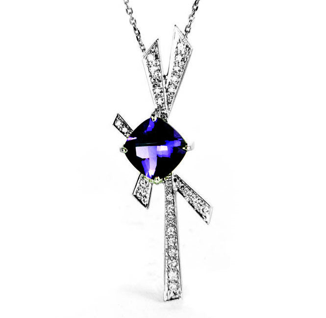 Bespoke Amethyst and Diamond pendant in 18ct recycled white gold