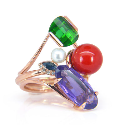 Bespoke cocktail ring - 18ct Fairtrade rose gold and the customer's own inherited gemstones