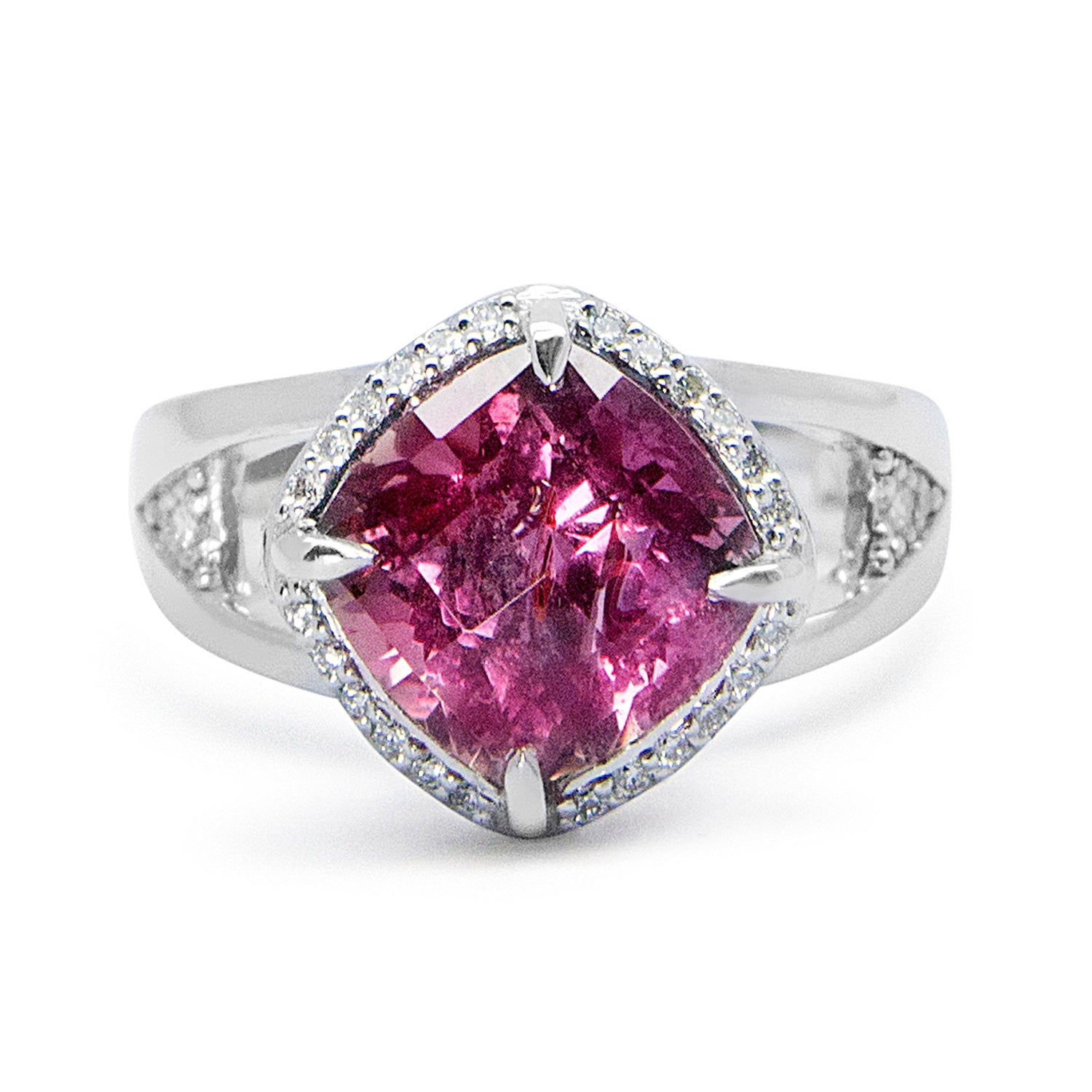 Bespoke Estelle cocktail ring - 18ct white Fairtrade Gold, client's own ethically-sourced pink sapphire and conflict-free diamonds