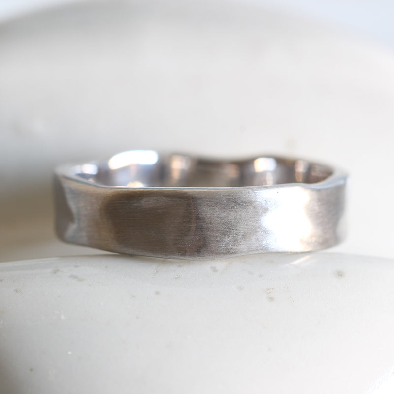 Bespoke organic wedding band - recycled white gold and matte finish