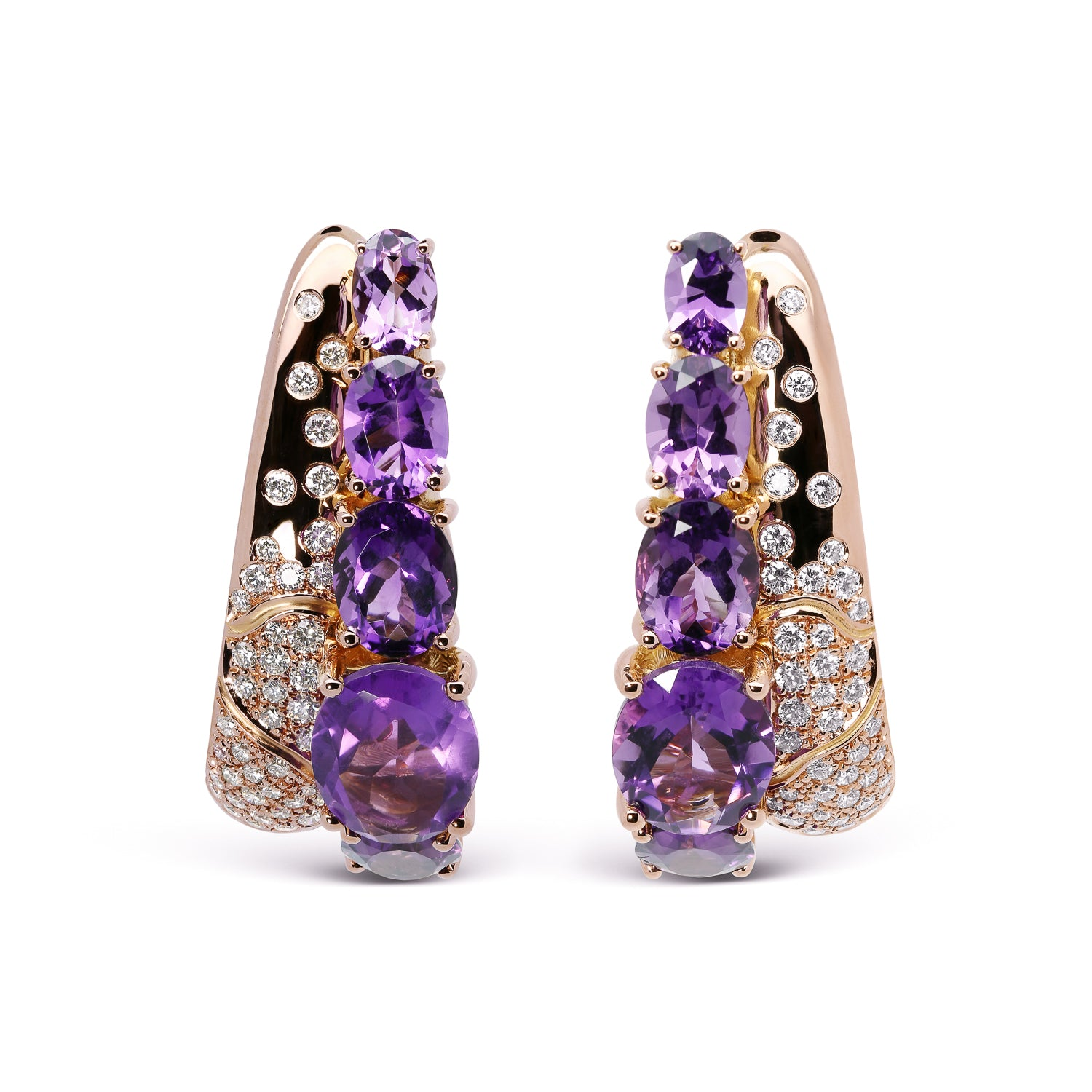 Bespoke earrings - amethyst, rose gold and diamonds