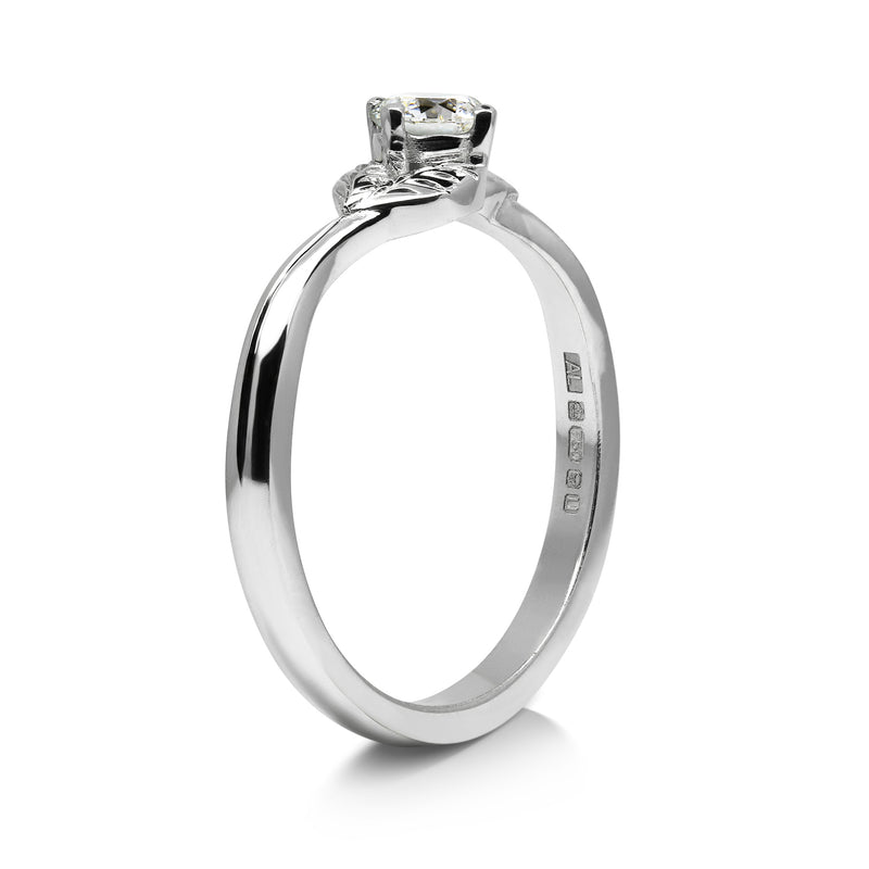 Bespoke Nature-Inspired Engagement Ring, 18ct recycled white gold and lab-grown diamond