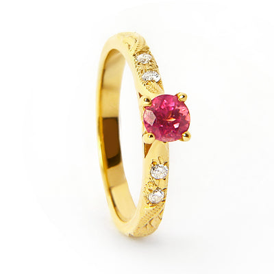 Bespoke Katy engagement ring - ruby Athena with diamond-set shoulders