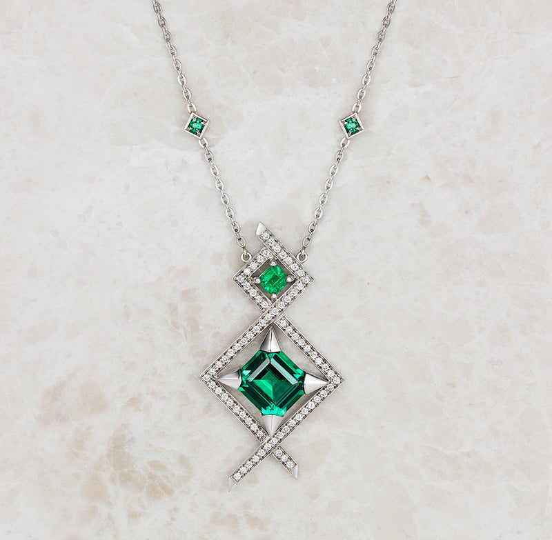 Bespoke Emerald Pendant - 100% recycled platinum and ethical diamonds