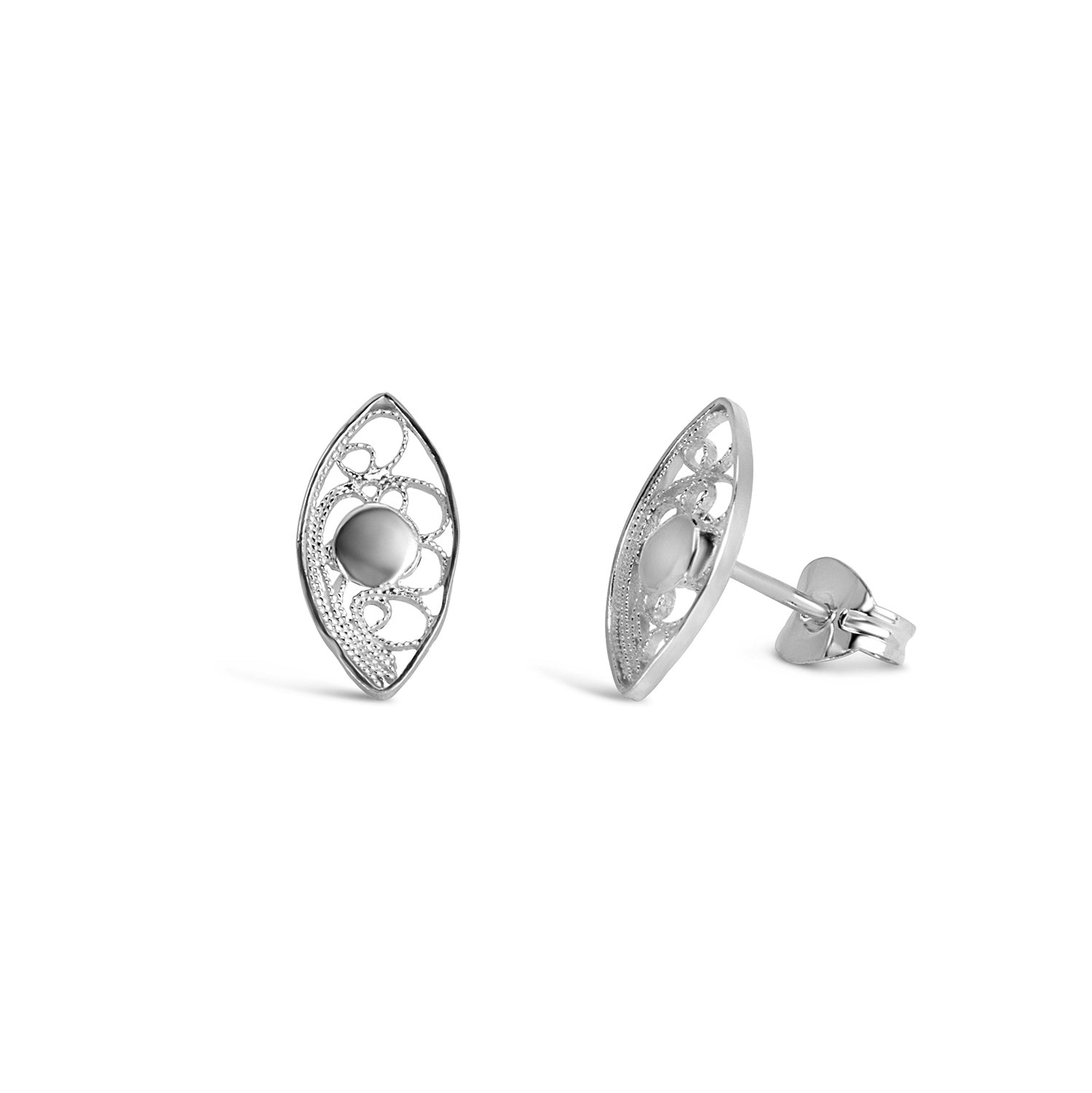 Almond Stud Earrings. Silver