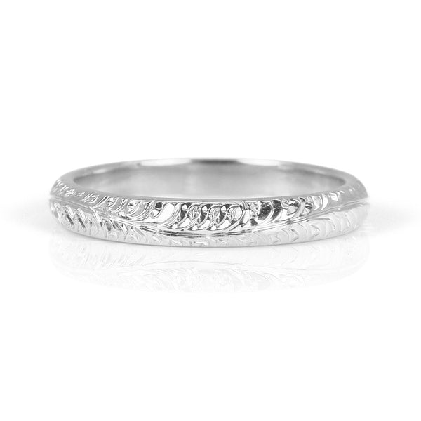Cedar Engraved Ethical Platinum Wedding Ring 3mm