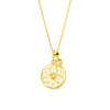 Discus Pendant with Diamond. Yellow Gold