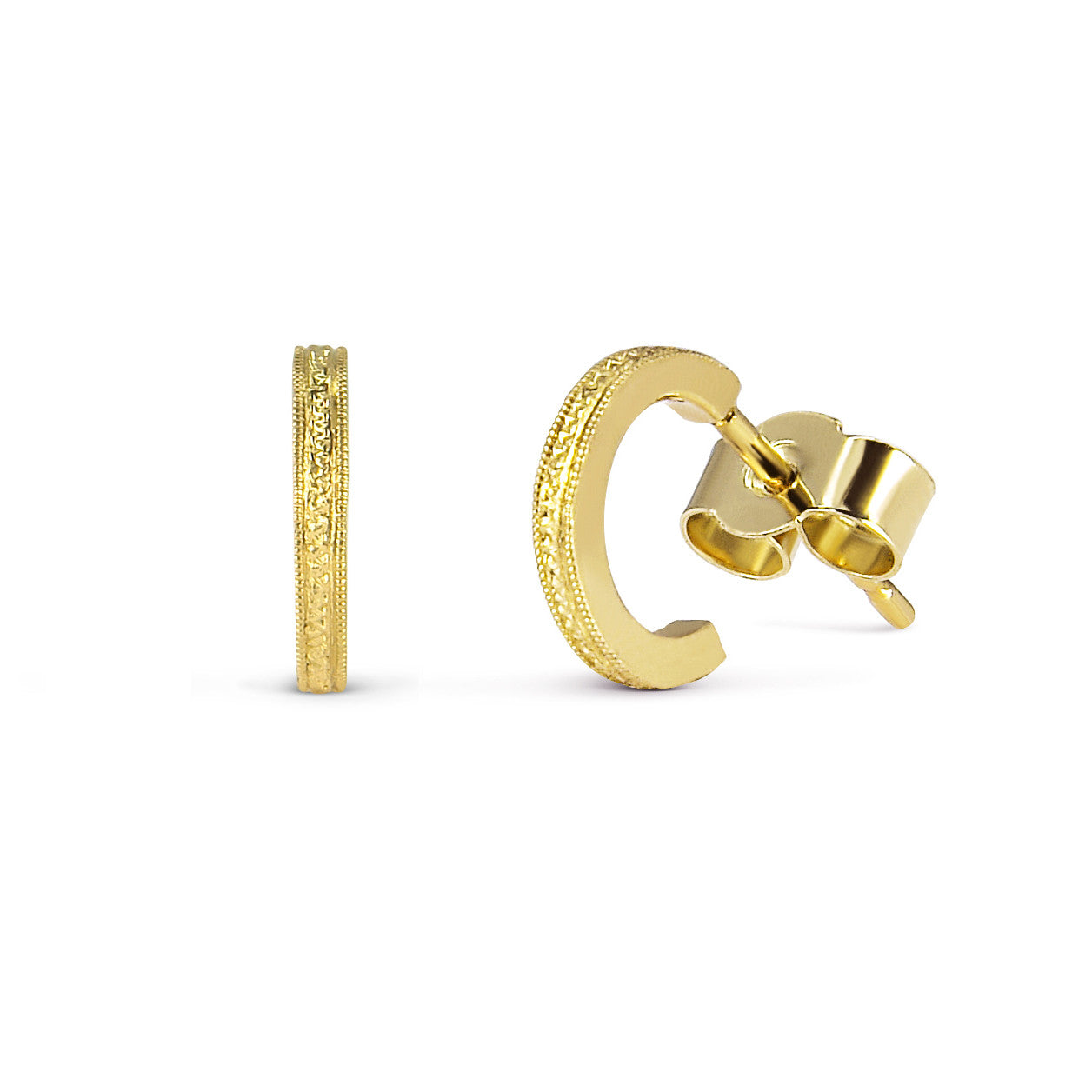 Eternity Engraved Ethical Hoop Earrings. 18ct Fairmined Ecological Gold