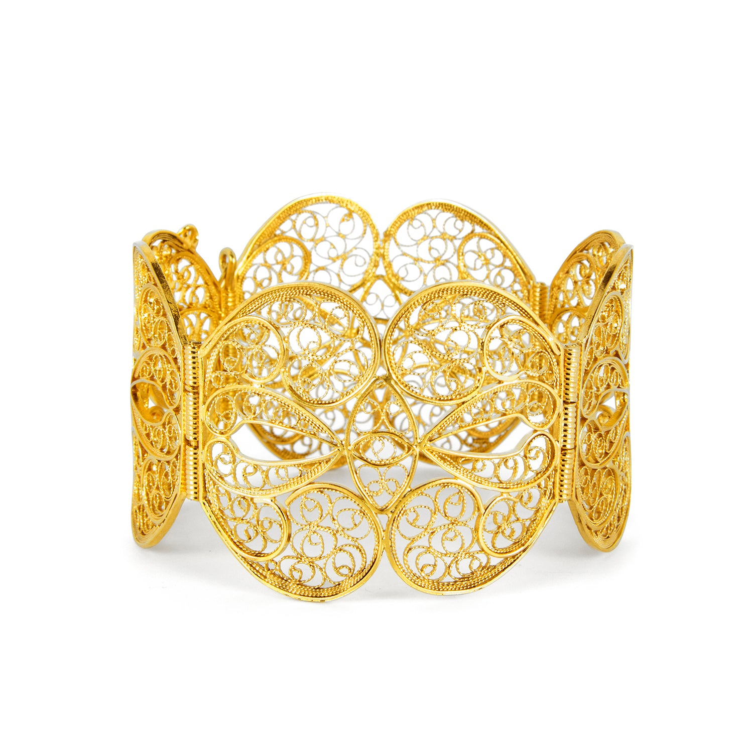 Filigree Butterfly Heart Bangle. Yellow Gold