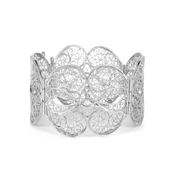 Filigree Butterfly Heart Bangle. Silver