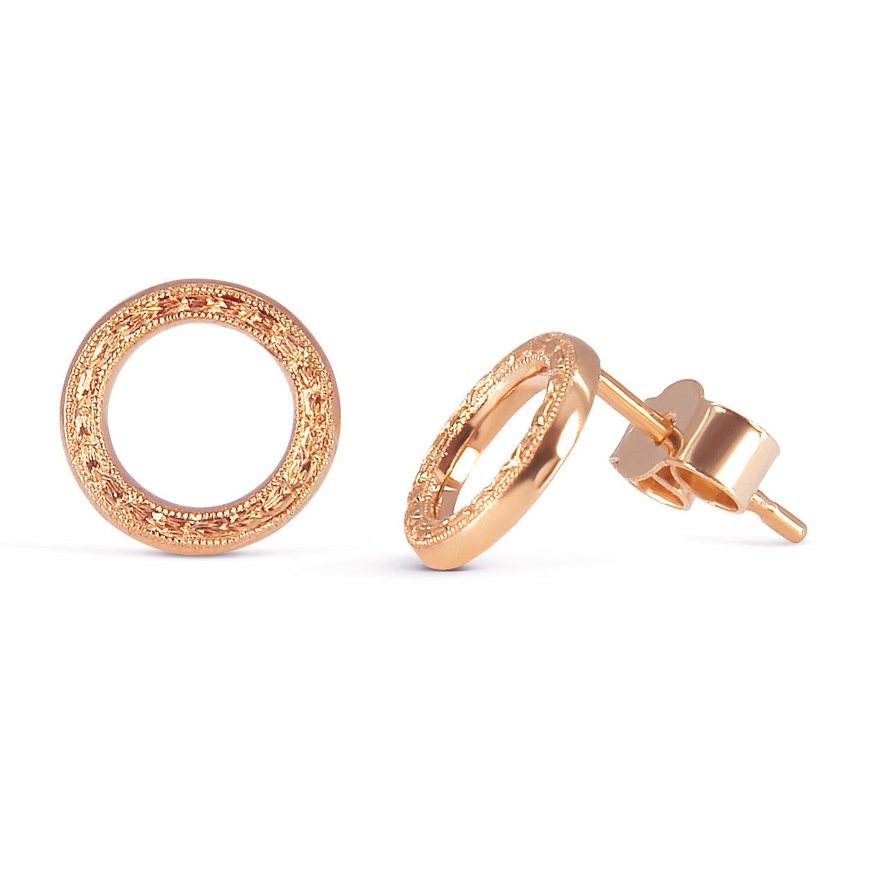 Heart Engraved Ethical Loop Earrings. 18ct Fairmined Ecological Gold