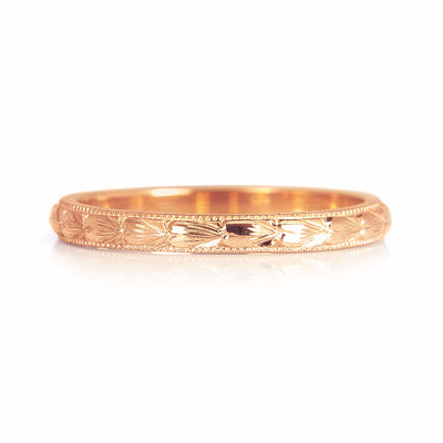 Heart Engraved Ethical Gold Wedding Band, 2mm 2