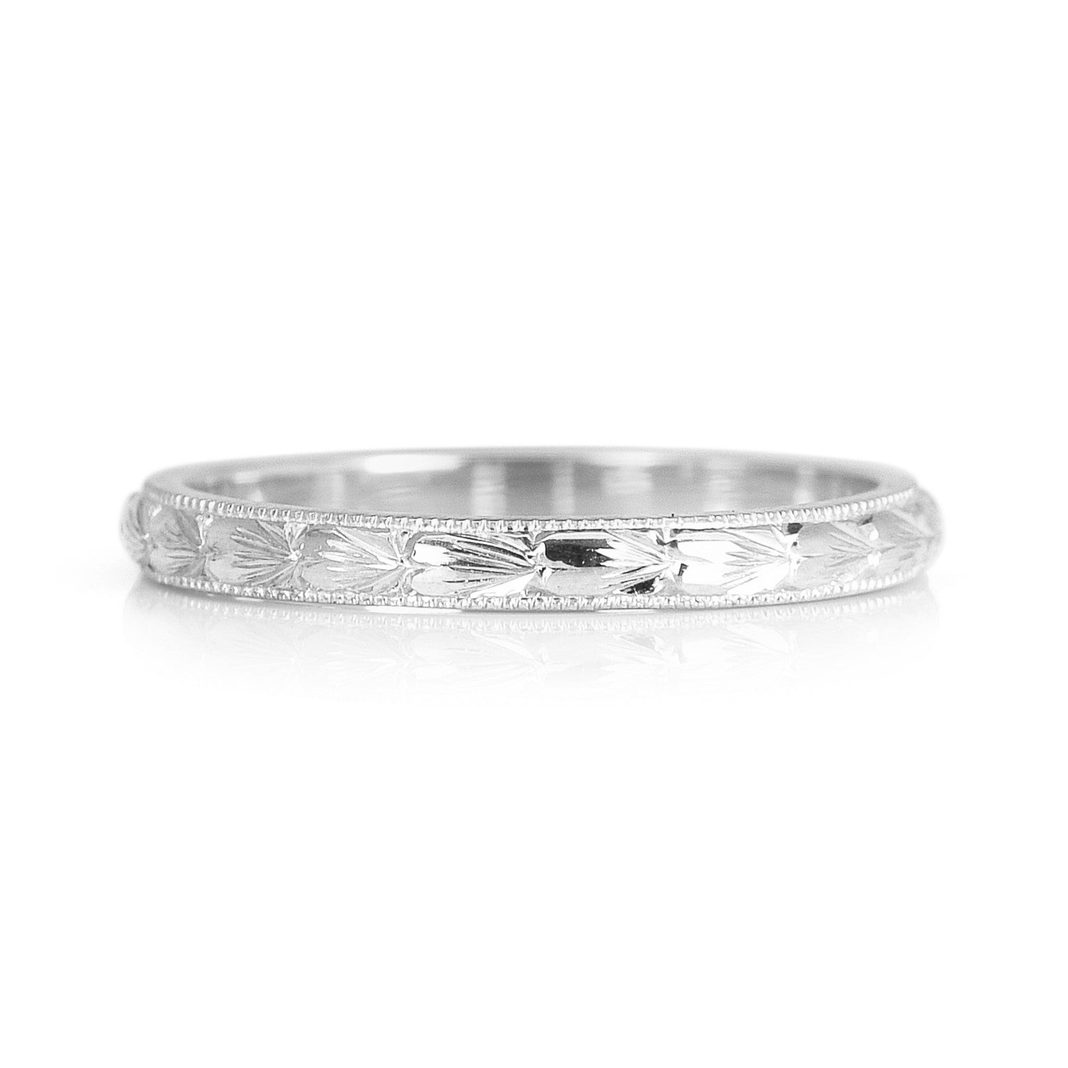 Heart Engraved Ethical Platinum Wedding Ring 2mm