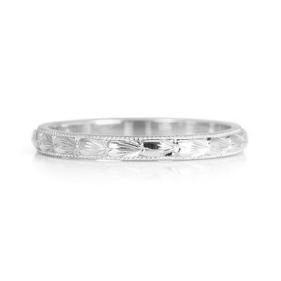 Heart Engraved Ethical Gold Wedding Band, 2mm 3