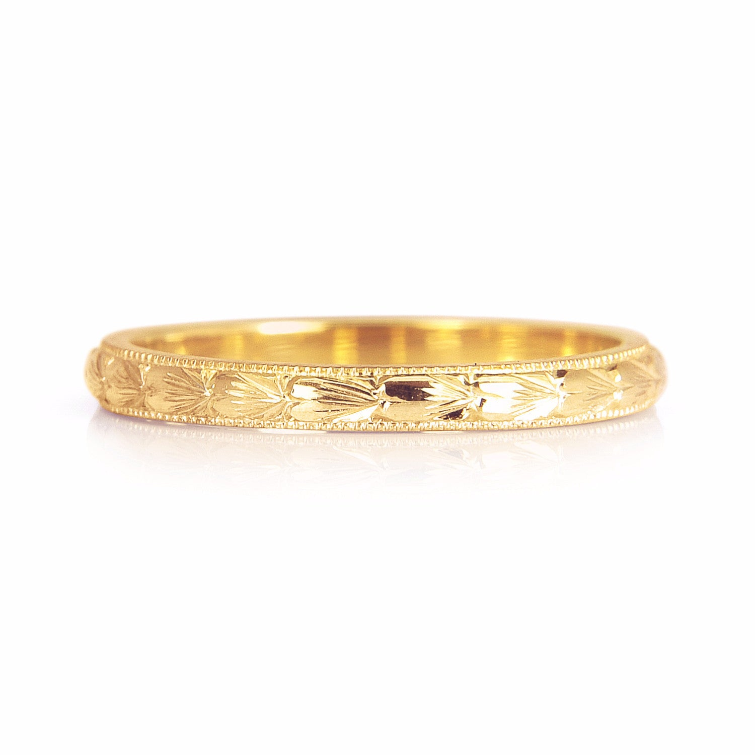 Heart Engraved Ethical Gold Wedding Ring 2mm