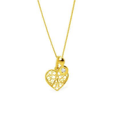 Heart Pendant with Diamond. Yellow Gold