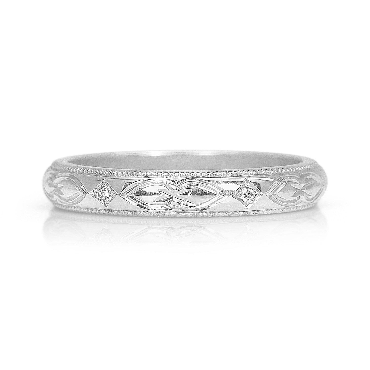 Lilac Engraved Ethical Platinum Wedding Ring, 3mm