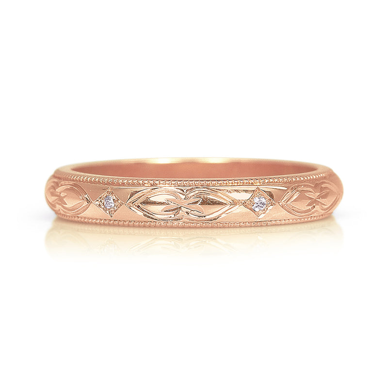 Lilac Engraved Ethical Gold Wedding Ring 3mm