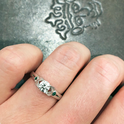 Bespoke Rob engagement ring - white Fairmined Ecological Gold, Canadamark diamond, fair-traded emeralds and nature-inspired engravings 4