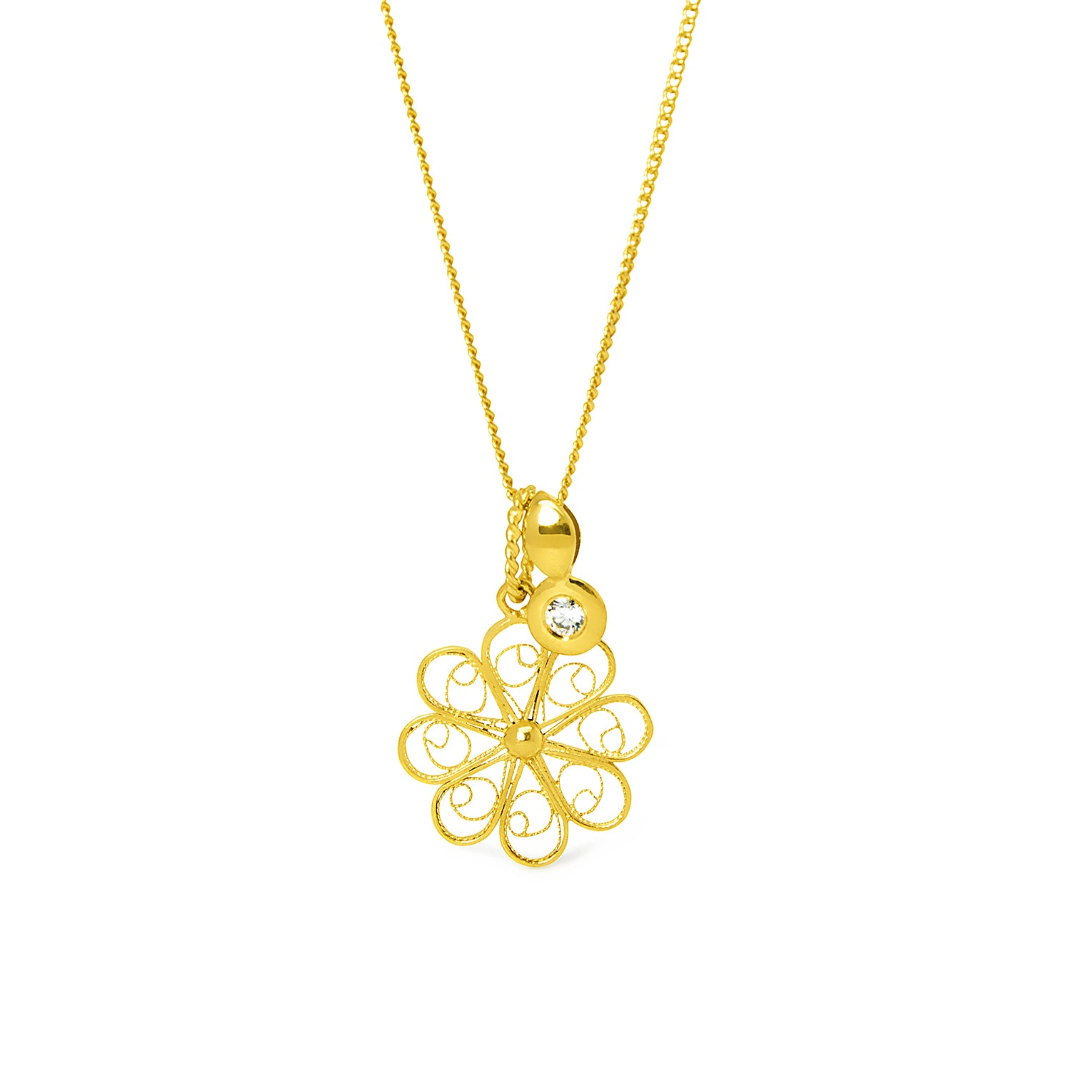 Rosette Pendant with Diamond. Yellow Gold