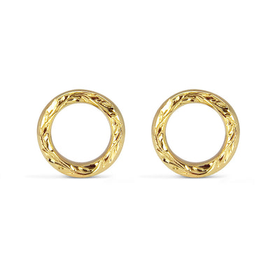 Vine Engraved Ethical Loop Earrings. 18ct Fairmined Ecological Gold