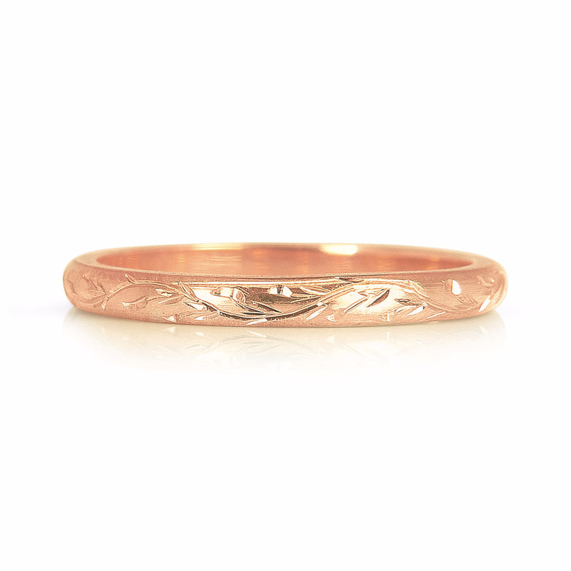 Vine Engraved Ethical Gold Wedding Ring 2mm