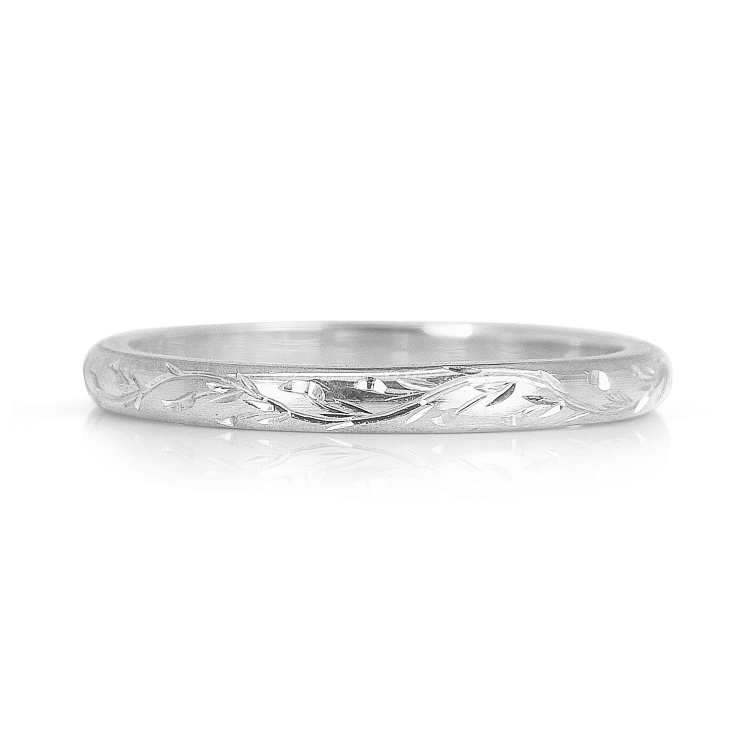 Platinum 2mm Hand Engraved Wedding Band With Milgrain: Vine Engraved Ethical Platinum Wedding Ring 2mm