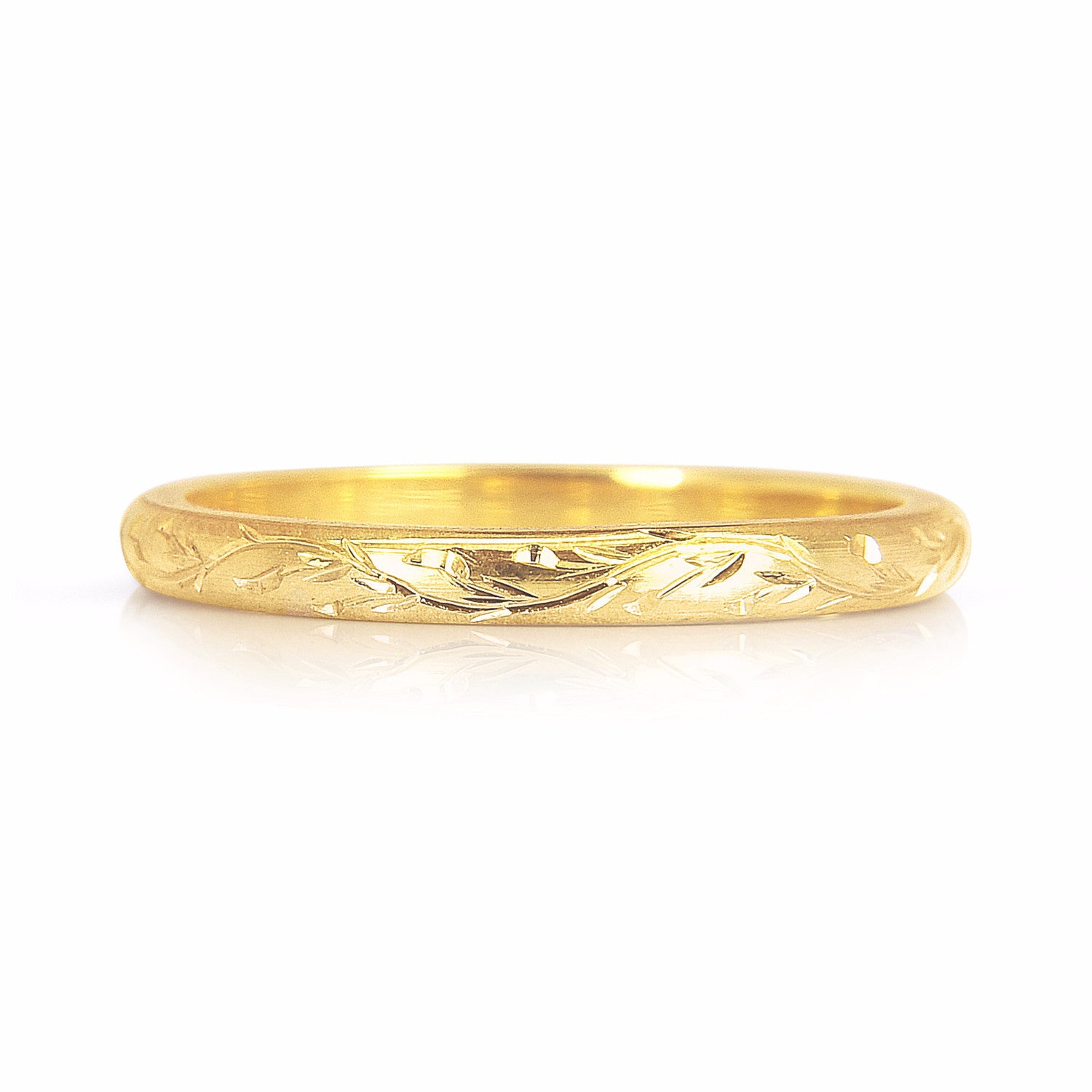 Vine Engraved Ethical Gold Wedding Ring, 2mm