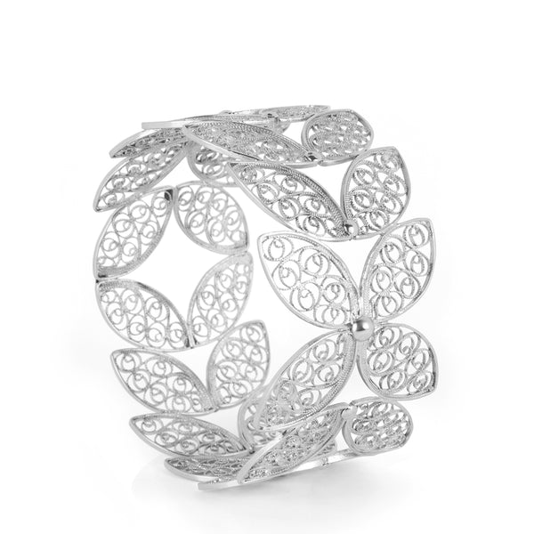 Filigree Walnut Leaf Bangle. White