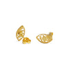 Almond Stud Earrings. Yellow Gold