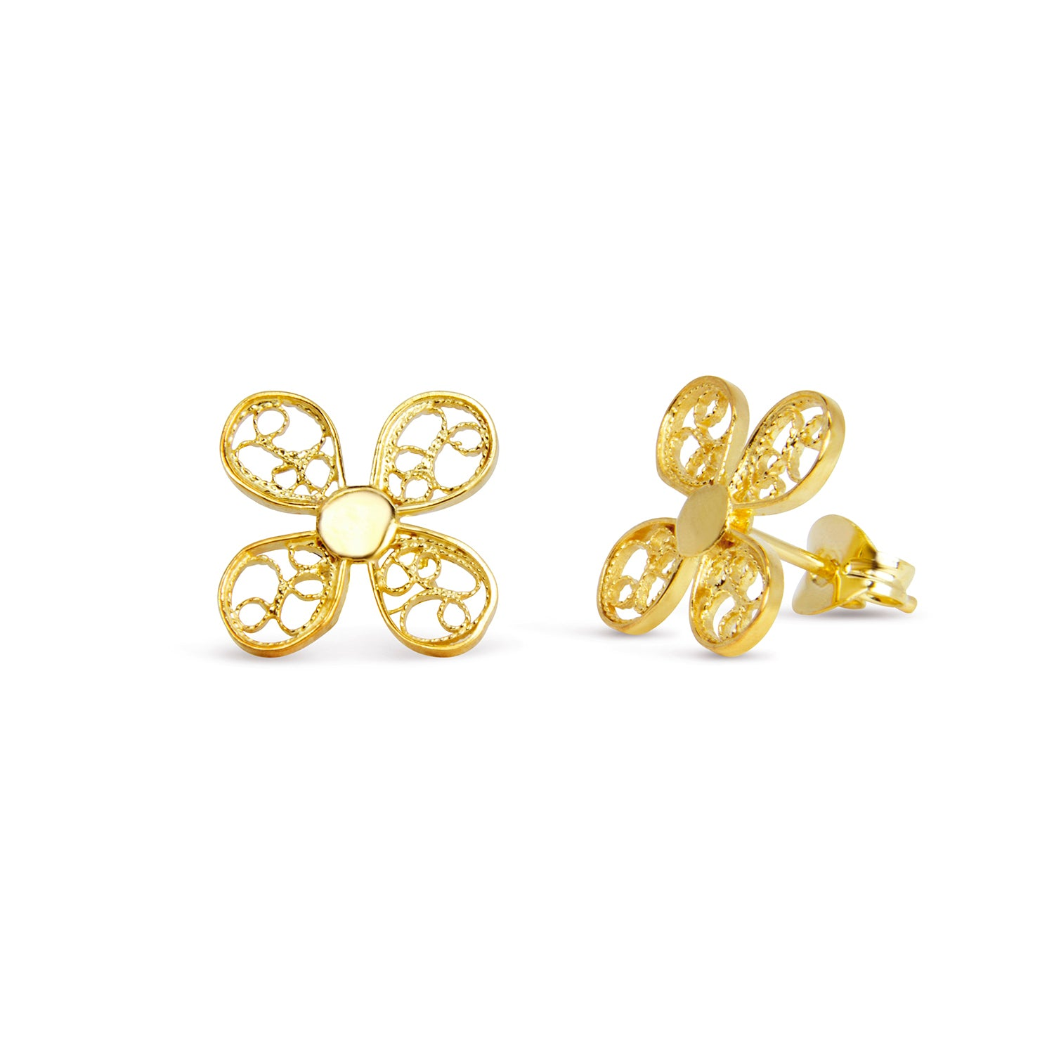 Clover Stud Earrings. Yellow Gold