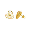 Heart Stud Earrings. Yellow Gold