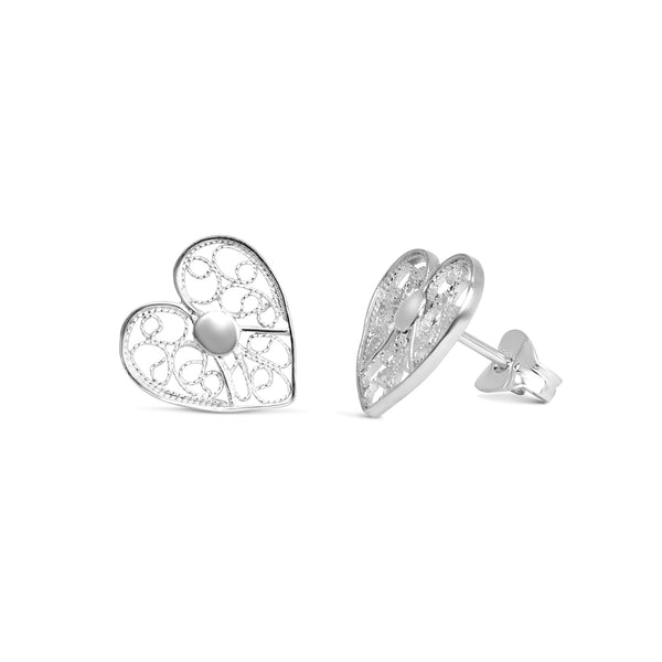 Heart Stud Earrings. Silver
