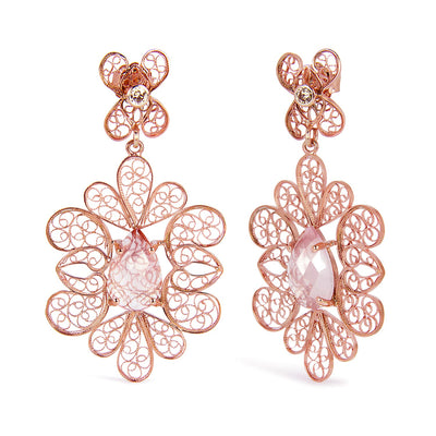 Bespoke filigree earrings - recycled silver and rose gold, conflict-free champagne diamonds and faceted rose quartz